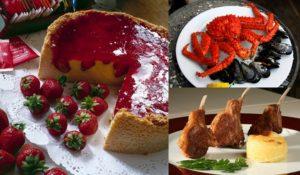 Cheesecake com cobertura de morango, king crab e prato com carne de cordeiro fueguino.