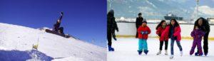 Atleta fazendo manobra em snowboard e crianças patinando sobre o gelo.